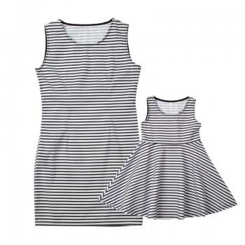 Classic Monochrome Stripe Mom and Me Dress