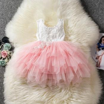 Baby Girl's Pretty Solid Sleeveless Lace Tutu Party Dress