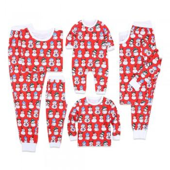 Happy Snowman Pattern Matching Pajamas in Red