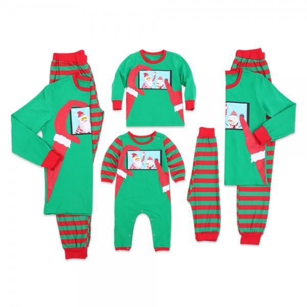family matching funny santa selfie christmas pajamas