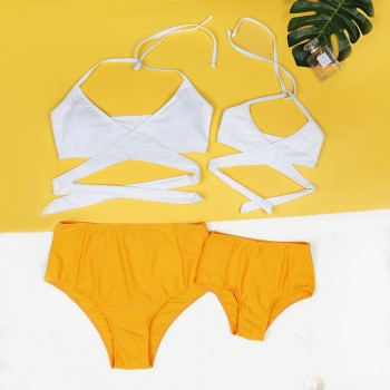 Mommy and Me 2-piece Cross Bikini Set in Yellow