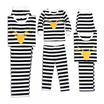 Trendy Gold Deer Black and White Striped Matching Pajamas