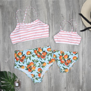Mommy and Me Fruit Print Stripes Matching Bikini Set