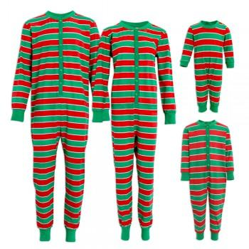 Comfy Green and Red Striped Family Matching Pajamas