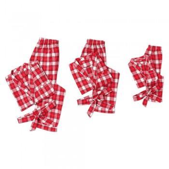 Trendy Lapel Plaid Christmas Matching Pajamas in Red