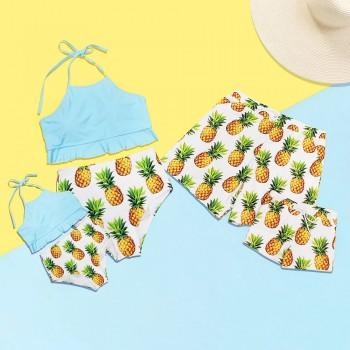 Fresh Pineapple Printed Family Matching Swimwear