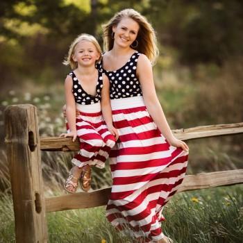 Mommy and Me Polka Dots Striped Sleeveless Maxi Dress