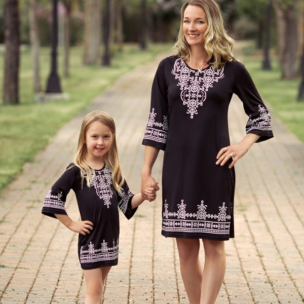 Mommy and Me Ethinc Flower Print Dress in Black