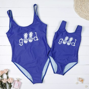 Mommy and Me GOOD Pineapple Print Matching Swimsuit