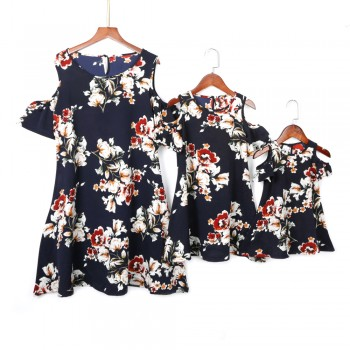 Mommy and Me Pretty Open Shoulder Floral Dress