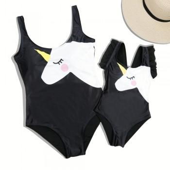Mommy and Me Lovely Unicorn One-piece Swimsuit in Black