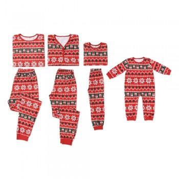 Joy Family Matching Snowflake Festive Red Pajamas