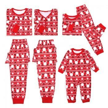 Lovely Deer Stripes Red Christmas Pajamas
