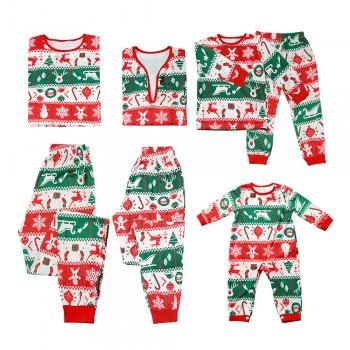 Joyful Red and Green Festive Family Pajamas