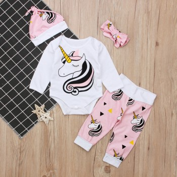 4-piece Sweet Unicorn Print Long-sleeve Bodysuit Pants Hat and Headband Outfits in Pink