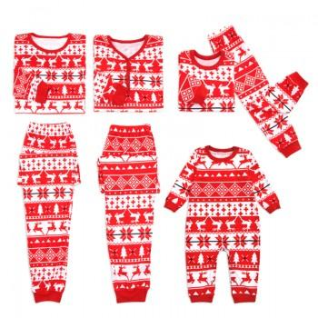 Snow and Deer Stripes Red Family Pajamas
