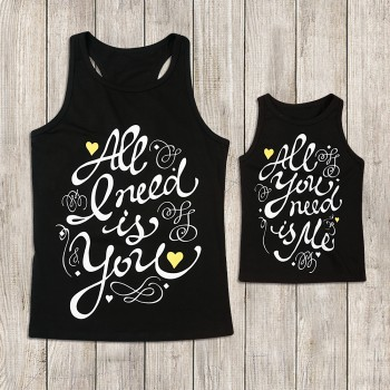 Mommy and Me Sweet Letter Printed Tank Top