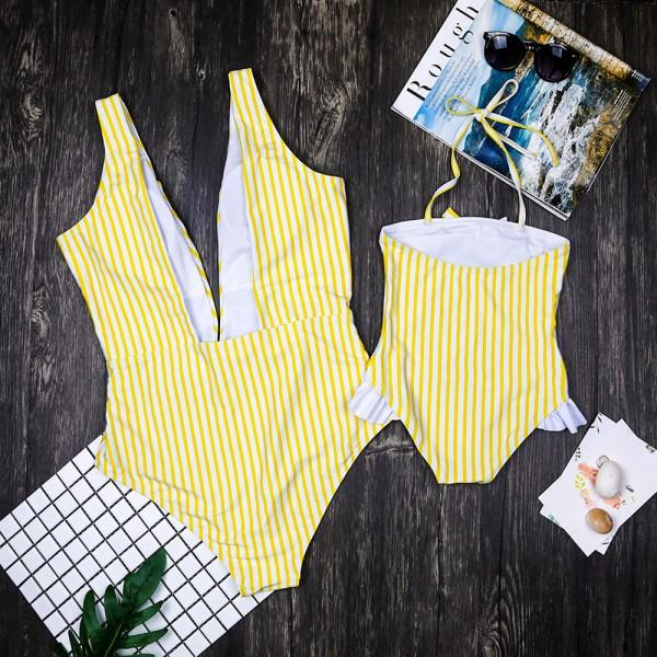 Jolly Stripes Charm Family Matching Swimsuit in Yellow