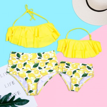 Mom and Me Layered Lemon Matching Bikini in Yellow
