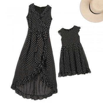 Mommy and Me Sweet Ruffled Polka Dots Matching Dress