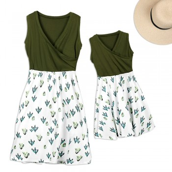 Mommy and Me Chic V-neck Cactus Charm Matching Dress