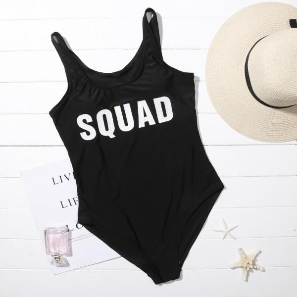 Mommy and Me Stylish Letter Printed One-piece Matching Swimsuit