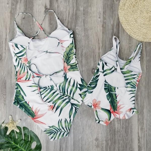 Mommy and Me Summer Leaves Charm Matching Swimsuit