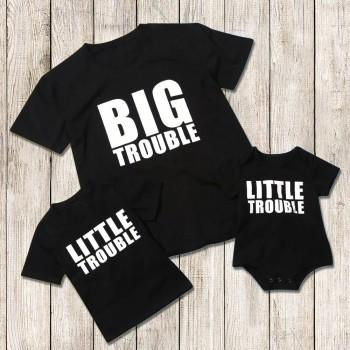 Funny Trouble Letter Print Daddy and Me Matching Top