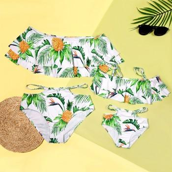 Mom and Me Pineapple Off Shoulder Matching Swimsuit