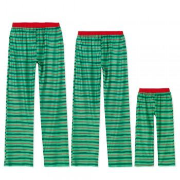 Family Matching Red and Green Striped Pajama Pants