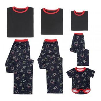 Trendy Short-sleeve Matching Pajamas in Black