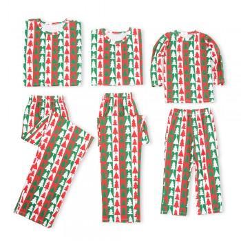 Christmas Tree Print Contrast Matching Pajamas