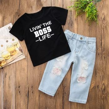 Chic Letter Print Short-sleeve Tee and Jeans Set for Toddler Boy and Boy