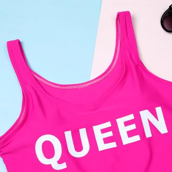 Cool Royal Family Letter Print Matching Swimsuit