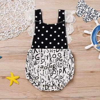 Baby Girl's Lace Trimmed Strap Romper with Headband