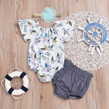 3-piece Sweet Floral Bodysuit Shorts and Flower Headband Set for Baby Girl