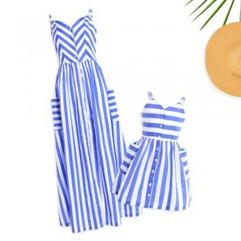 Mommy and Me V-neck Striped Matching Maxi Dress in Blue