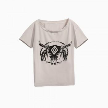 Stylish Bullhead Print T-shirt in Grey for Girls