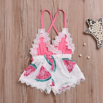 Fresh Watermelon Print Lace-trimmed Slip Romper for Baby Girl
