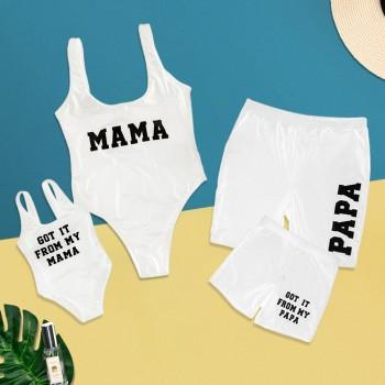 Cool Letter Printed Family Matching Swimsuit in White