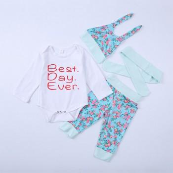 4-piece Best Day Ever Long-sleeve Bodysuit Set for Baby Girl