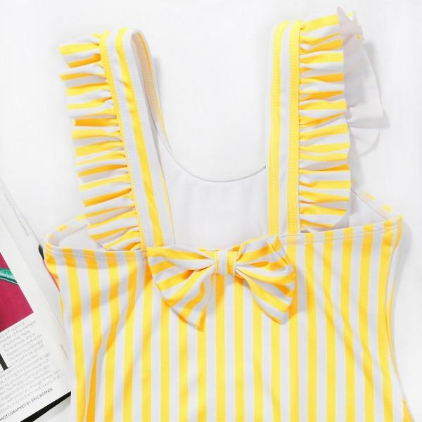 Mommy and Me Vintage Stripes Ruffles One-piece Swimsuit in Yellow