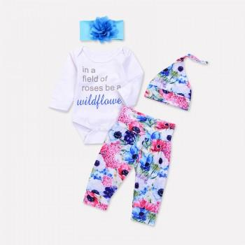 4-piece Letter Bodysuit Floral Pants Headband and Hat Set for Baby Girl