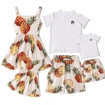 Allover Tropical Pineapple Printed Family Matching Dress and Sets