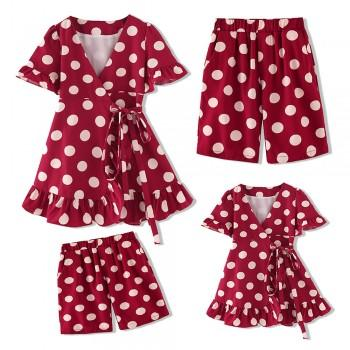 Sweet Ruffled Polka Dots Family Matching Dress and Shorts