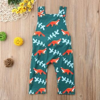 Lovely Allover Fox Print Strap Jumpsuit for Baby
