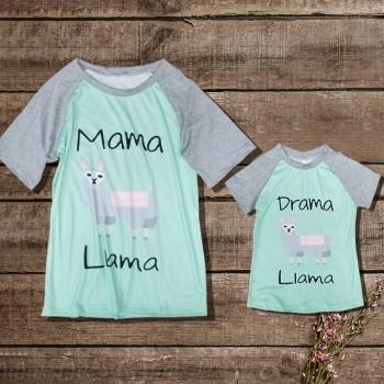 Mommy and Me Adorable Printed Short-sleeve Tee in Green