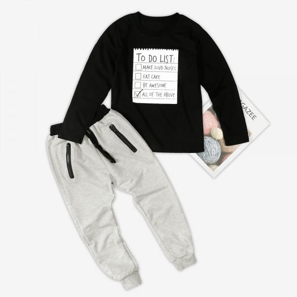 2-piece Letters Applique Long-sleeve Top and Zipper Pants for Boys