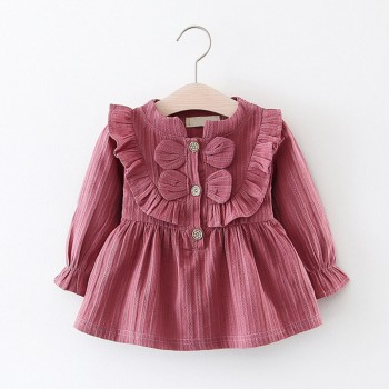 sweet solid ruffled bowknot long sleeve dress buttons front princess dress