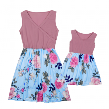 Mommy and Me Chic V-neck Matching Dress in Pink